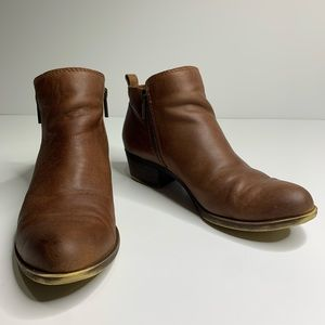 Lucky Brand brown leather basel booties 7.5